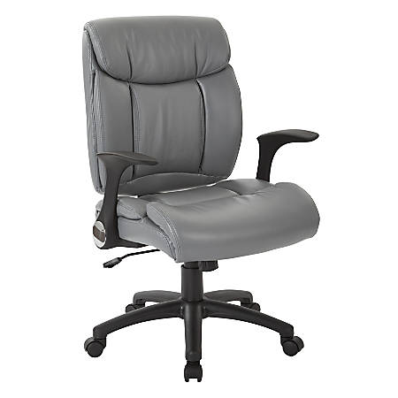 Office Star™ Work Smart™ Faux Leather High-Back Chair, Charcoal/Black