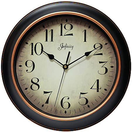 "Infinity Instruments Hanover 12"" Round Wall Clock, Black/Rose Gold"