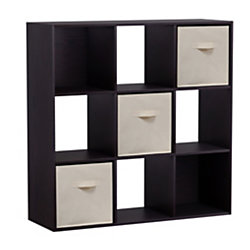 Homestar North America 9-Cube Bookcase With Bins, Dark Brown