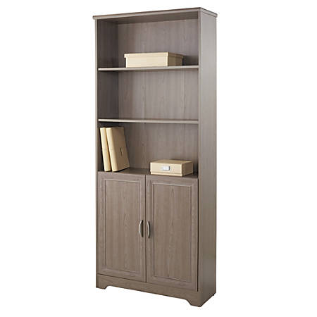 Realspace® Magellan Collection 5-Shelf Bookcase With Doors, Gray