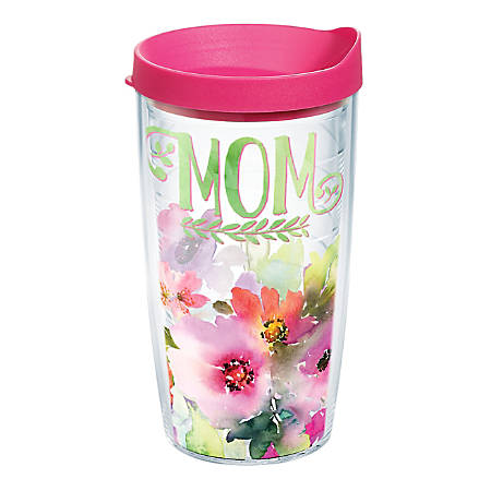 Tervis Mom Watercolor Floral Tumbler With Lid, 16 Oz, Clear