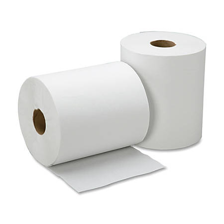 "SKILCRAFT® 100% Recycled All-Purpose 1-Ply Hardwound Towels, Embossed, No Perforation, 8"" x 600', White, 12 Rolls Per Carton"