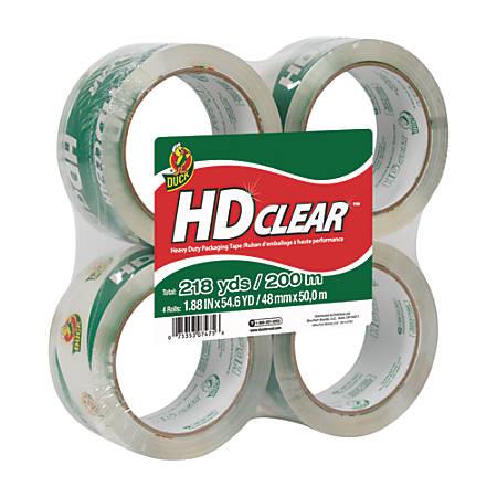 """Duck® HD Clear™ Heavy-Duty Packaging Tape, 1.88"""" x 54.6 Yd., Clear, Pack Of 4 Rolls"""