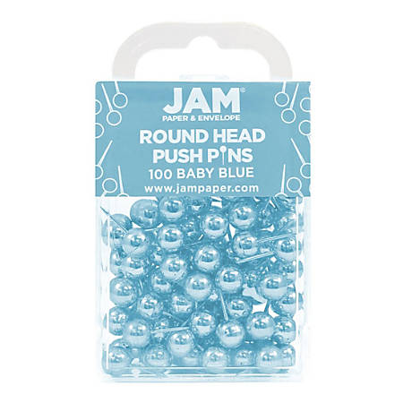 """JAM Paper® Colorful Push Pins, 1/2"""", Baby Blue, Pack of 100 Push Pins"""
