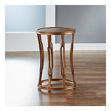 FirsTime & Co.® Hourglass Side Table, Round, Clear/Antique Gold