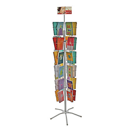 "Azar Displays 48-Pocket Wire Floor Stand For 5"" X 7"" Greeting Cards, 64"" x 24"", White"