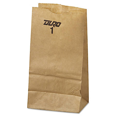 "General #1 Paper Grocery Bags, 6 7/8""H x 3 1/2""W x 2 3/8""D, 30 Lb, Kraft, Pack Of 500 Bags"
