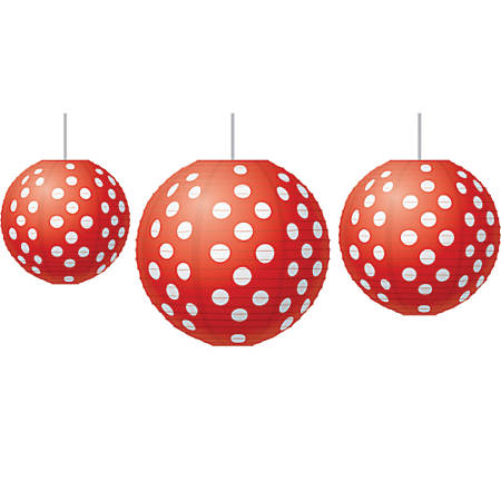 Teacher Created Resources Paper Lanterns, Red Polka Dots, Pack Of 3