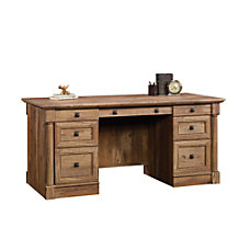 Sauder Palladia Executive Desk Vintage Oak