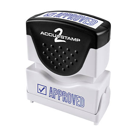 """Accu-Stamp2® Pre-Inked Message Stamp, Approved, 1/2"""" x 1 5/8"""", Blue"""