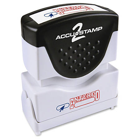 """COSCO 2-color ENTERED Message Stamp - Message Stamp - """"ENTERED"""" - Red, Blue - Rubber Grip - 1 Each"""