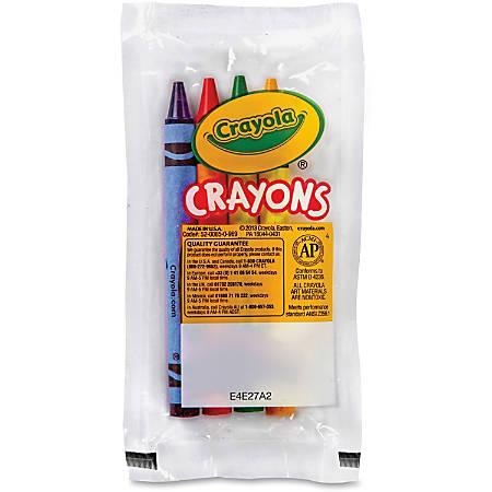 Crayola Set of Four Regular Size Crayons in Pouch - Red, Blue, Yellow, Green - 360 / Carton