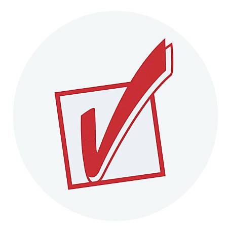 "Accu-Stamp® Round Pre-Inked Message Stamp, Check Mark Symbol, 5/8"" Diameter Impression, Red Ink"