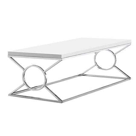 Monarch Specialties Coffee Table, Rectangular, Glossy White/Chrome