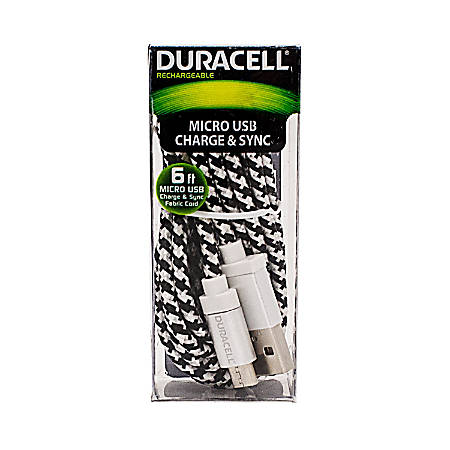 Duracell® Fabric Micro USB Cable, 6', White, LE2239