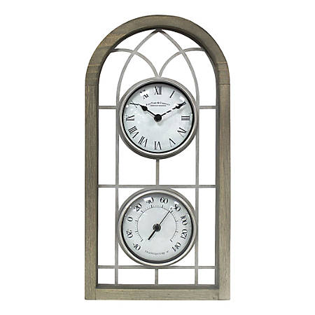 FirsTime & Co.® Farmhouse Arch Outdoor Clock, Rustic Brown/Antique Silver