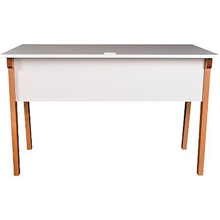 Lorell Mid Century Modern Office Desk 47 W NaturalWhite ...