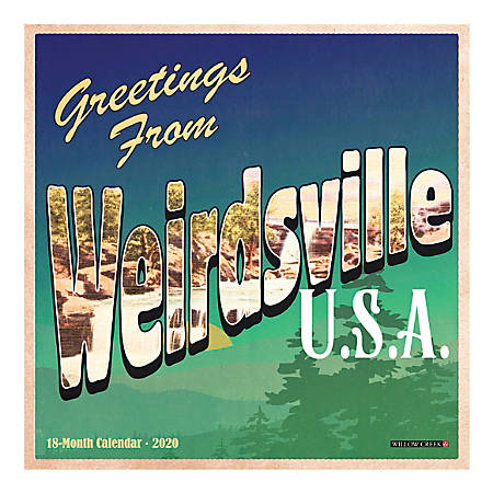 """Willow Creek Press Humor & Comics Monthly Wall Calendar, 12"""" x 12"""", Greetings From Weirdsville, January To December 2020"""