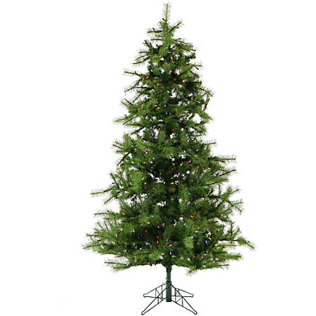 Fraser Hill Farm Artificial Noble Fir Christmas Tree With Multicolor LED String Lighting And EZ Connect, 7.5'
