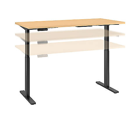 "Bush Business Furniture Move 60 Series 72""W x 24""D Height Adjustable Standing Desk, Natural Maple/Black Base, Premium Installation"