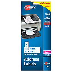 Avery Mini Sheets White Permanent Address