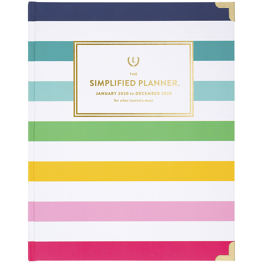 Track your schedule in style with this hardcover planner designed by Emily Ley. The bold colors and striped design offer a fashionable appearance, while the untimed blocks make it easy to mark down appointments, events and reminders.  2 pages per week/month.  Weekly spreads feature ruled planning spaces from Monday through Sunday, as well as to-do lists with circles to check off.  Unruled daily blocks of the monthly spreads allow for customized scheduling. Also features a lined to-do section and simplicity tips on how to organize your days.  12 months: January to December.  Pages are perfect bound. Gold corner protectors safeguard the hardcovers.  Keep track of your place with the ribbon page marker.  Cover features a striped design with bold colors and a gold date badge in the center for a stylish touch.