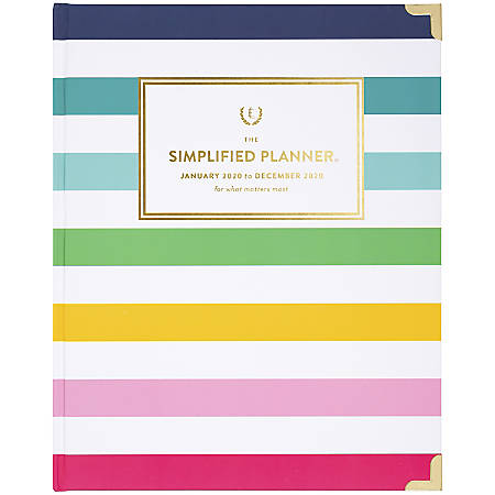 "Emily Ley Simplified® Happy Stripe Weekly/Monthly Planner, 8"" x 10"", Multicolor, January To December 2020, EL301-903"