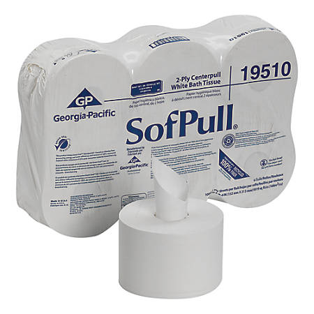 SofPull® 2-Ply Centerpull Bathroom Tissue, White, 1,000 Sheets Per Roll, Pack Of 6 Rolls