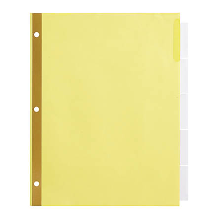 Office Depot® Brand Insertable Dividers With Big Tabs, Buff, Clear Tabs, 5-Tab