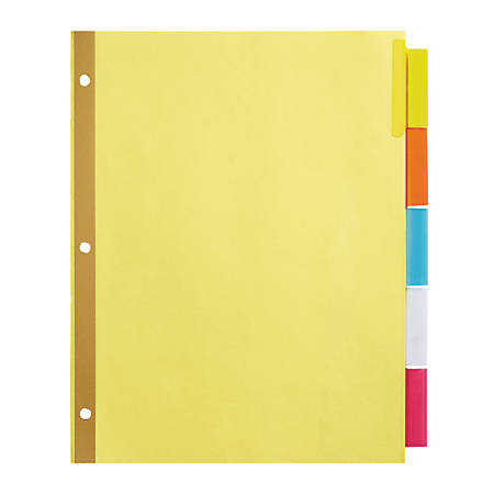 office depot brand insertable dividers with big tabs buff assorted colors 5 tab by office depot. Black Bedroom Furniture Sets. Home Design Ideas