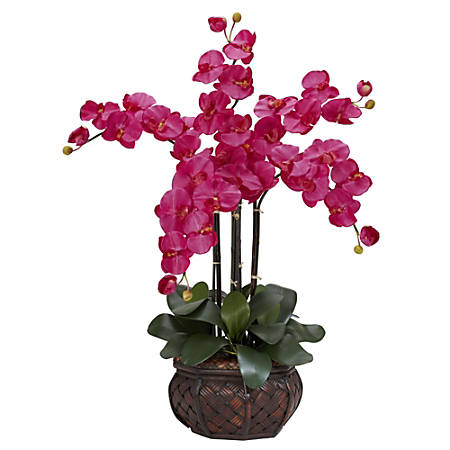 "Nearly Natural 31""H Silk Phalaenopsis Arrangement With Decorative Pot, Beauty"