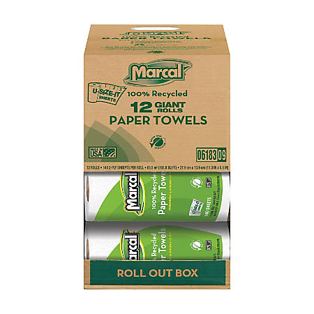Marcal® Small Steps™ 100% Recycled 2-Ply U-size-it Paper Towels, 140 Sheets Per Roll, Case Of 12 Rolls