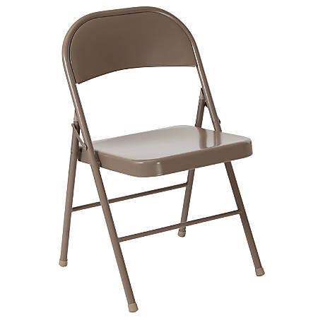 Flash Furniture HERCULES Metal Double-Braced Folding Chair, Beige