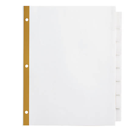 Office Depot® Brand Insertable Dividers With Big Tabs, White, Clear Tabs, Set Of 8