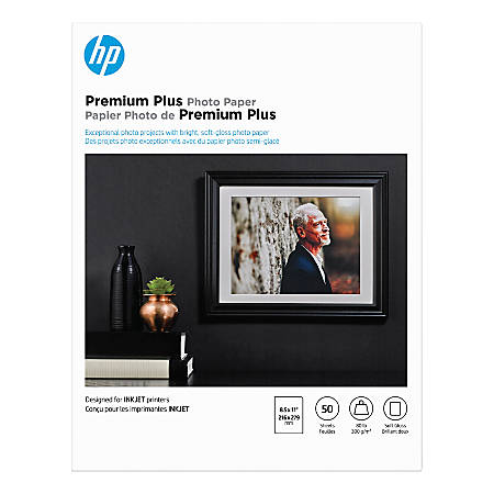 """HP Premium Plus Photo Paper for Inkjet Printers, Soft Gloss, Letter Size (8 1/2"""" x 11""""), 80 Lb, Pack Of 50 Sheets (CR667A)"""
