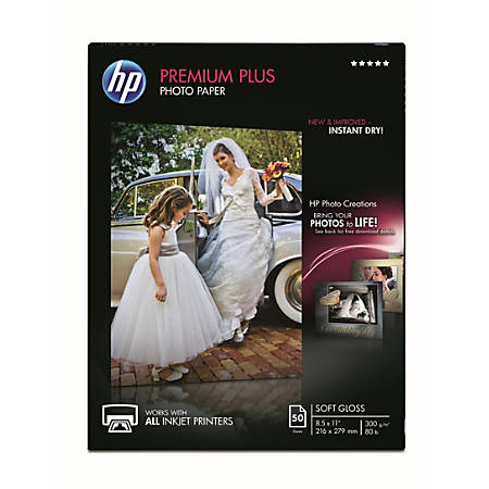 """HP Premium Plus Soft-Gloss Photo Paper, 8 1/2"""" x 11"""", Pack Of 50 Sheets"""