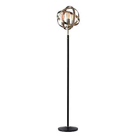 "Adesso® Donovan Floor Lamp, 70-1/2""H, Antique Brass Shade/Black Base"