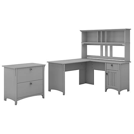 """Bush Furniture Salinas 60""""W L Shaped Desk with Hutch and Lateral File Cabinet, Cape Cod Gray, Standard Delivery"""