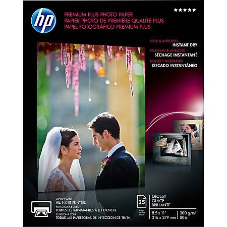 HP Premium Plus Inkjet Print Glossy Photo Paper, Letter Paper Size, 80 Lb, White