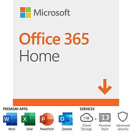 Office 365 Home, For PC/Mac, 6 Users, 1 Year Subscription, Download