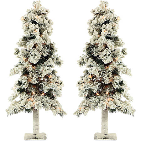 Fraser Hill Farm Snowy Alpine Trees With Clear Lights, 3', Set Of 2