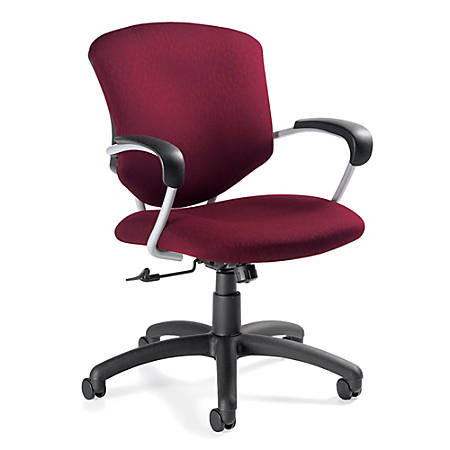 "Global® Supra™ Mid-Back Tilter Chair, 39""H x 26""W x 26""D, Tungsten Frame, Ruby Fabric"
