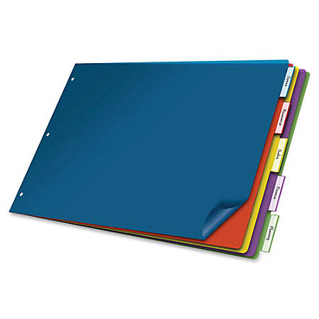"""Cardinal® Poly Insertable Dividers, 5-Tab, 11"""" x 17"""", Assorted Colors"""