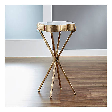 FirsTime & Co.® Quatrefoil Tray Side Table, Round, White/Satin Gold