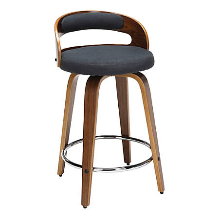 OFM 161 Collection Mid-Century Modern Low-Back Stool, Navy/Walnut