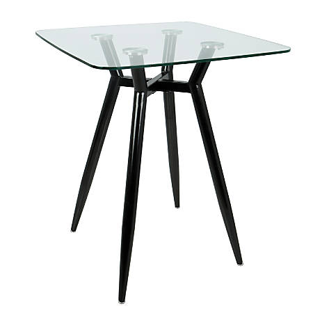Lumisource Clara Mid-Century Modern Counter Table, Square, Clear/Black