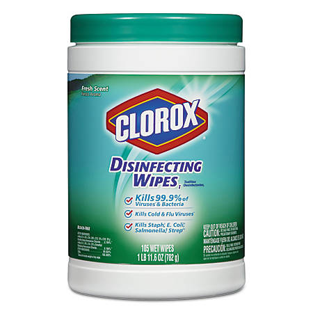 "Clorox® Disinfecting Wipes, Fresh Scent, 7"" x 8"", White, 105 Wipes Per Canister"