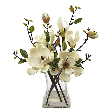 "Nearly Natural 15""H Plastic Magnolia Arrangement With Vase, White"