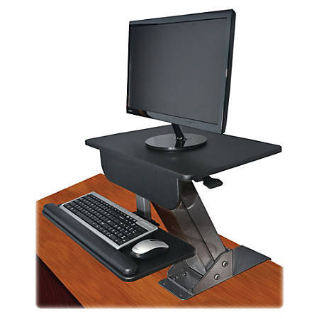 "Kantek Desk-Mounted Sit-To-Stand Workstation, 21 1/2""H x 23 1/2""W x 23 1/2""D, Black"