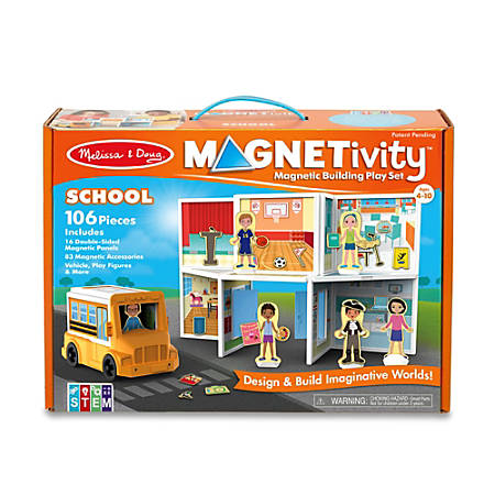 Melissa & Doug Pretend Play Educational Toys, Magnetivity School Building Set